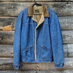 Vintage Wrangler Faux Fur Lined Jean Jacket